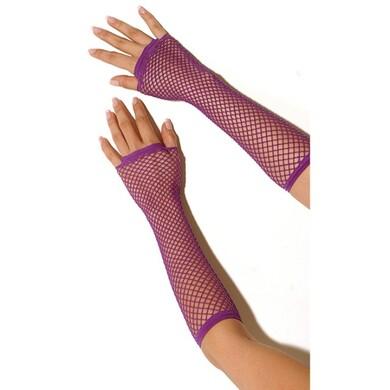 Длинные перчатки фиолетовые в сетку без пальцев