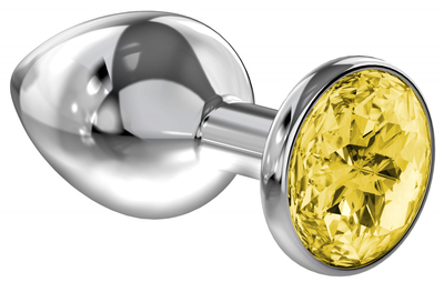 Анальная пробка серебристая с желтым кристаллом Diamond Sparkle Large