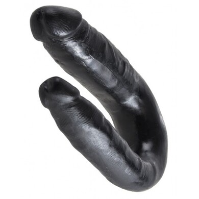 Двойной фаллос King Cock U-Shaped Small Double Trouble Black