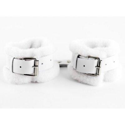 Поножи кожаные с нежным мехом белые