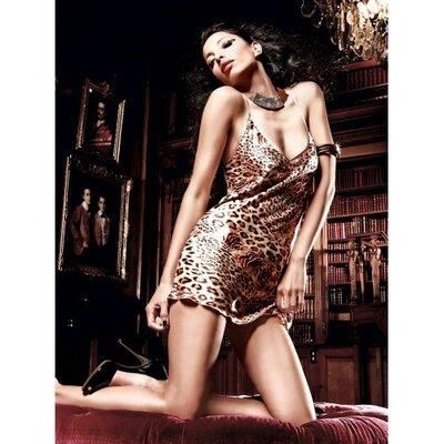 Эротическая сорочка с леопардовым принтом M/L
