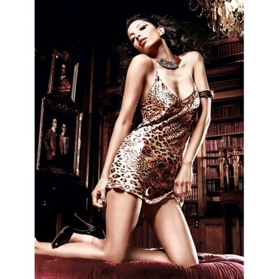 Эротическая сорочка с леопардовым принтом S/M