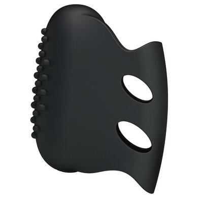 Стимулятор на палец с шаловливыми усиками черный