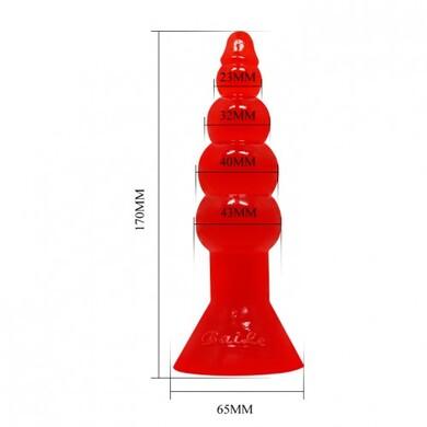 Анальная ёлочка на присоске красная