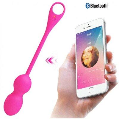 Вагинальные шарики с вибрацией Pretty Love Elvira с управлением через телефон розовые