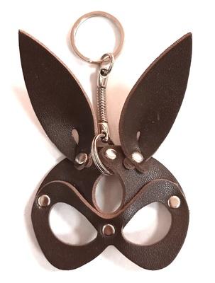"""Брелок ручной работы """"Black Mama"""" из натуральной кожи Rabbit коричневый"""