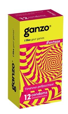 Презеративы Ganzo Extase №12 (анатомические с точечной и ребристой текстурой)