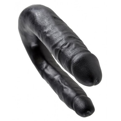 Двойной фаллос King Cock U-Shaped Small Double Trouble Black