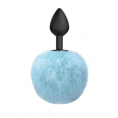 Анальная пробка силиконовая с голубым хвостиком Emotions Fluffy
