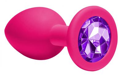Анальная пробка Emotions Cutie Medium Pink dark purple crystal