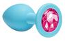 Пробка анальная Emotions Cutie Medium Turquoise pink crystal