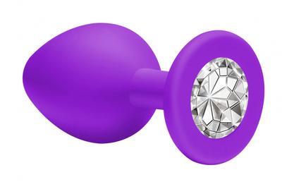 Анальная пробка фиолетовая с прозрачным кристаллом Emotions Cutie Small