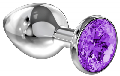 Анальная пробка серебристая с фиолетовым кристаллом Diamond Sparkle Large