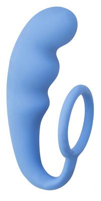 Анальный стимулятор с эрекционным кольцом синий Mountain Range Anal Plug