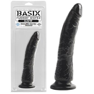 Фаллоимитатор на присоске Basix Rubber Works Slim 7 Black