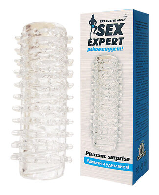 """Эластичная насадка на пенис """"Sex Expert"""" 2в1"""