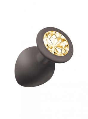 Анальная пробка Emotions Cutie Large Black golden crystal