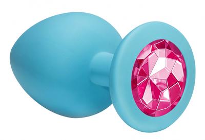 Анальная пробка голубая с розовым кристаллом Emotions Cutie Large