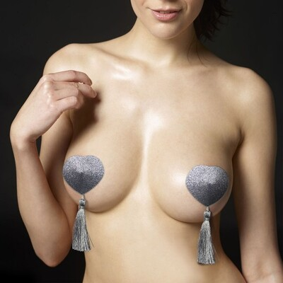 Серебристые пэстисы для груди Reusable Glitter Heart Tassel Nipple Pasties