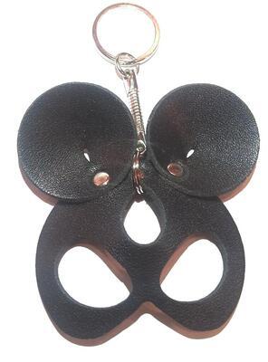 """Брелок ручной работы """"Black Mama"""" из натуральной кожи Mouse черный"""
