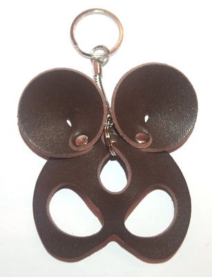 """Брелок ручной работы """"Black Mama"""" из натуральной кожи Mouse коричневый"""