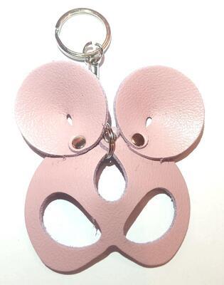 """Брелок ручной работы """"Black Mama"""" из натуральной кожи Mouse розовый"""