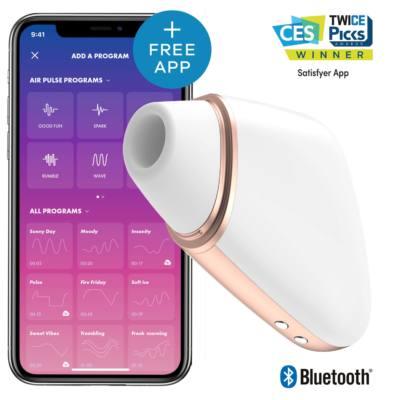 Вакуумно-волновой стимулятор клитора с вибрацией Satisfyer Love Triangle с возможностью управления через смартфон белый