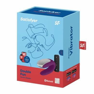 Парный вибратор с пультом управления и возможностью управления через смартфон фиолетовый Satisfyer Double Fun