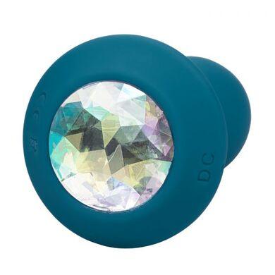Перезаряжаемая анальная пробка с кристаллом и вибрацией Power Gem Vibrating Petite Crystal Probe бирюзовая