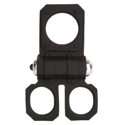 Виброкольцо с подхватами для мошонки Silicone Lovers Gear Ball Spreader Enhancer черное