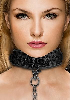 Широкий ошейник с поводком Luxury Collar with Leash, чёрный