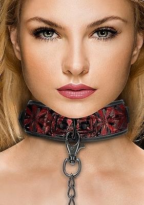 Широкий ошейник с поводком Luxury Collar with Leash, красный