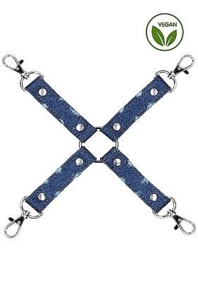 Крестообразный фиксатор голубой для наручников и наножников Roughend Denim Style