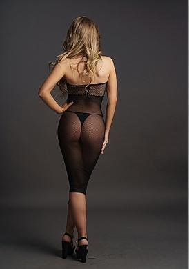 Эротическое черное платье с высоким воротом, OS