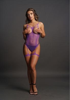 Боди-комбинезон фиолетовый с открытыми чашками и гартерами, OS