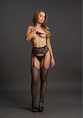 Черные эротические чулки-сетка с поясом и декоративным рисунком, OS