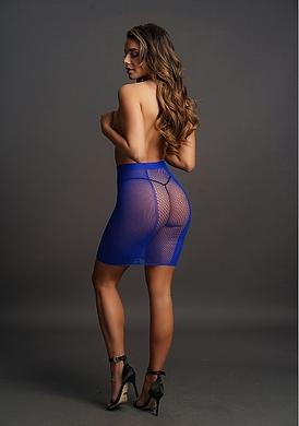 Синяя юбка в сеточку с высокой талией, OS