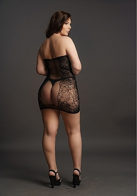 Мини-платье без бретелек Plus size