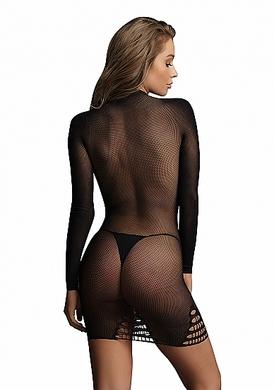 Эротическое черное платье в сеточку с длинными рукавами, OS