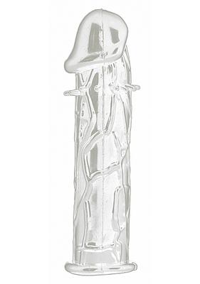 Насадка на пенис прозрачная с силиконовыми шипами Realistic Penis Extension