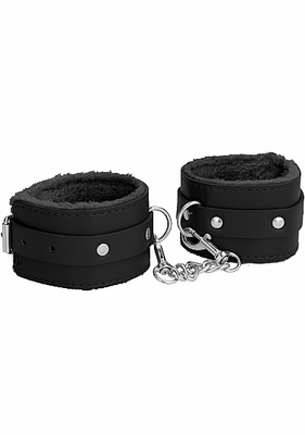 Черные наножники Plush Leather Ankle Cuffs