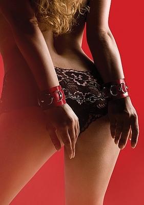 Наручники Leather Cuffs, красные