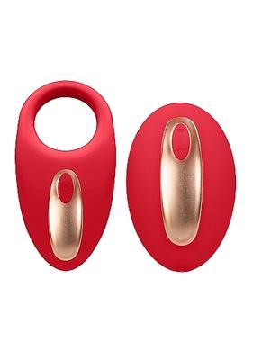 Перезаряжаемое виброкольцо с вибропультом управления Poise красное