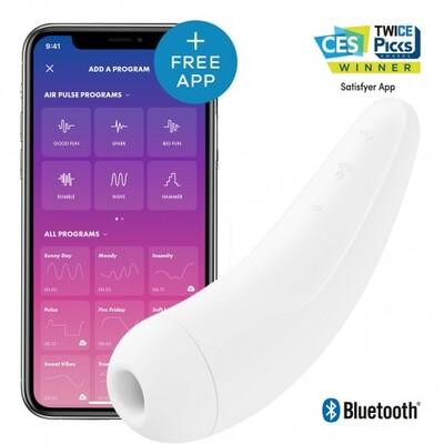 Вакуумно-волновой стимулятор клитора с вибрацией Satisfyer Curvy 2+ с возможностью управления через смартфон белый
